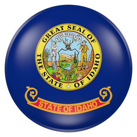 ボタンにアイダホ州旗の 3 d レンダリング