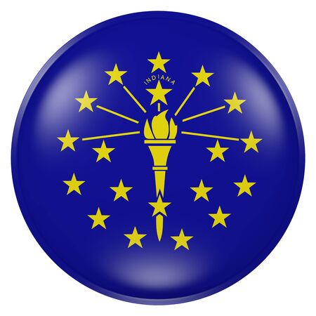 3d rendering of Indiana State flag on a button