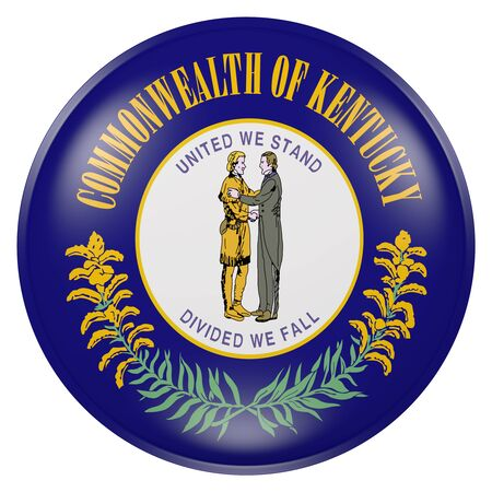 3d rendering of Kentucky State flag on a button Stock Photo
