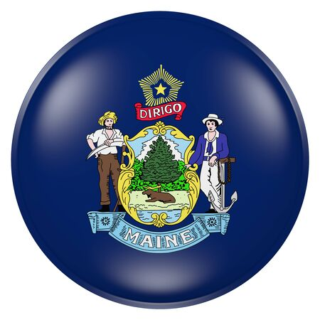 3d rendering of  Maine State flag on a button Stock Photo
