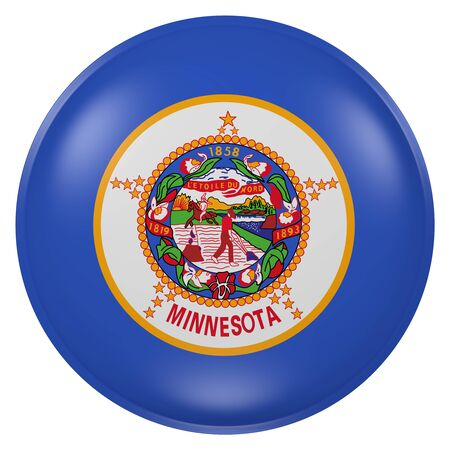 3d rendering of Minnesota State flag on a button