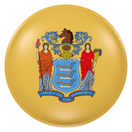 3d rendering of  New Jersey State flag on a button