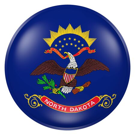 3d rendering of North Dakota flag on a button