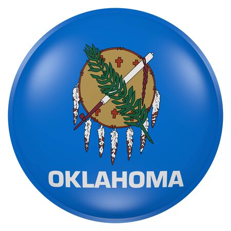 3d rendering of Oklahoma State flag on a button