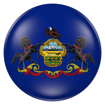 3d rendering of Pennsylvania State flag on a button 版權商用圖片