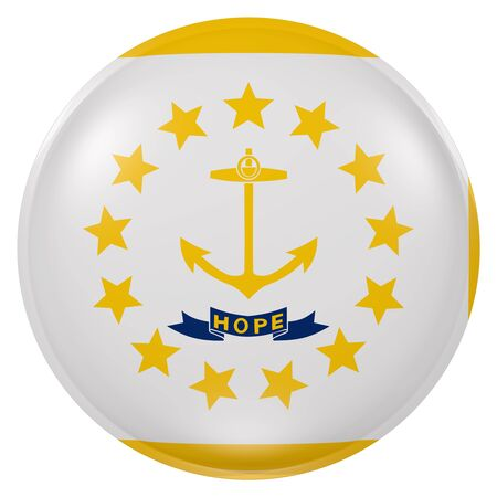 providence: 3d rendering of Rhode Island State flag on a button