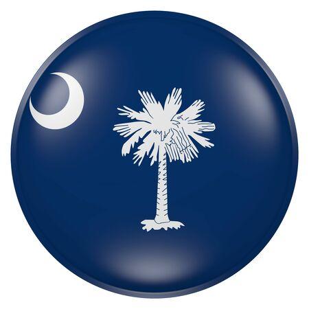 단추에 사우스 캐롤라이나 국기의 3d 렌더링