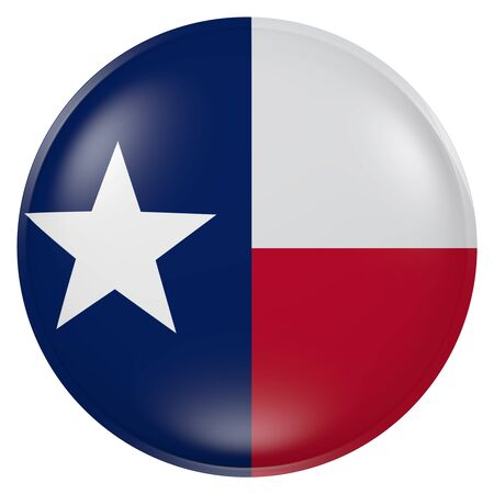 3d rendering of Texas State flag on a button