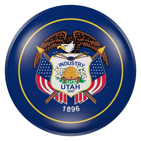 3d rendering of  Utah State flag on a button