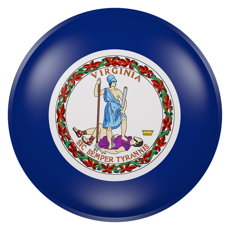3d rendering of  Virginia State flag on a button