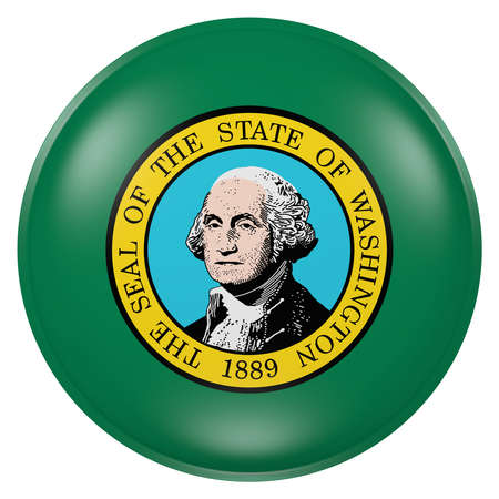 3d rendering of  Washington State flag on a button