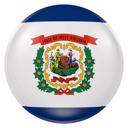 3d rendering of West Virginia State flag on a button Reklamní fotografie - 81522775