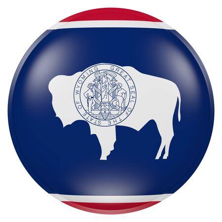 ボタンにワイオミング州旗の 3 d レンダリング