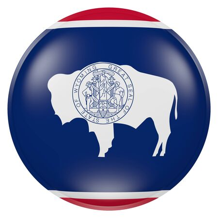 3d rendering of Wyoming State flag on a button 版權商用圖片