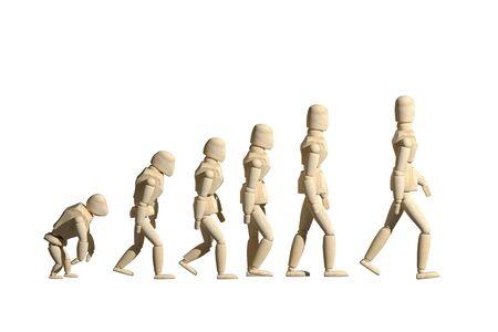 Rendu 3D du prototype de jouets mannequin en bois de l'évolution humaine sur fond blanc. Copyspace. Banque d'images - 84071176