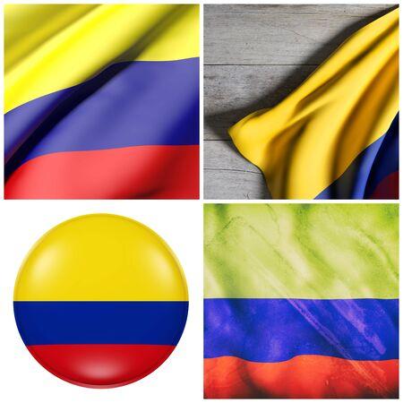콜롬비아 깃발을 흔들며 4 개의 3d 렌더링의 조성 스톡 콘텐츠