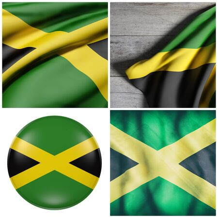 Composition of four 3d rendering of Jamaica flags waving Stock Photo
