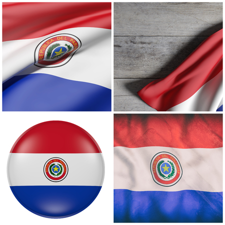 Composition of four 3d rendering of Paraguay flags waving Stock Photo