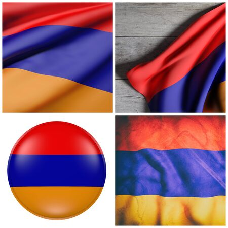 3d rendering of a composition of four Republic of Armenia flags waving Stock Photo