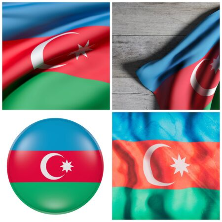3d rendering of a composition of four Azerbaijan flags Stock Photo