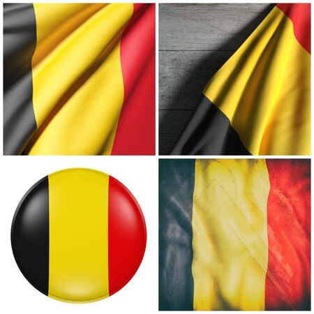 3d rendering of a composition of four Belgium flags
