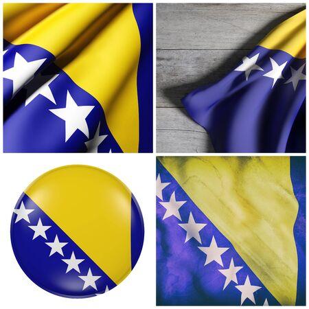 ボスニア ・ ヘルツェゴビナのフラグ 4 つの 3 d レンダリングの組成 写真素材