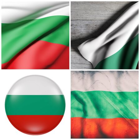 Composition of four 3d rendering Bulgaria flags