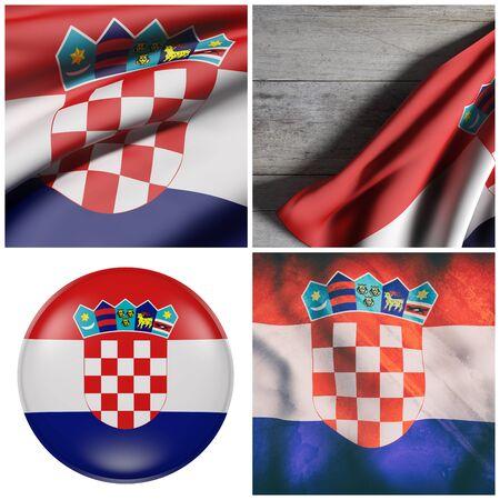 クロアチア フラグ 4 つの 3 d レンダリングの組成 写真素材