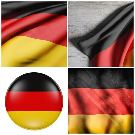 german culture: Composition of four 3d rendering German flags