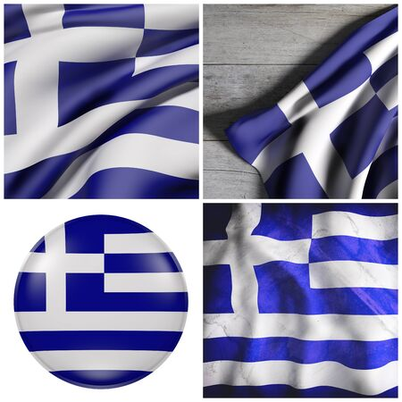 Composition of four 3d rendering Greece flags
