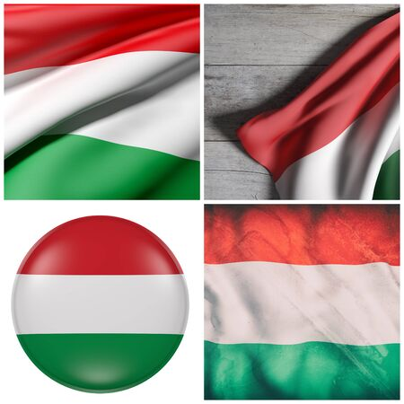 Composition of four 3d rendering Hungary flags