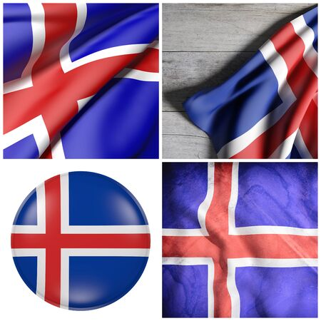 Composition of four 3d rendering Iceland flags