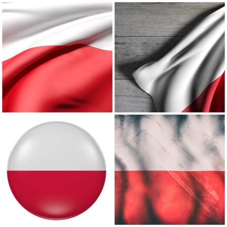 3d rendering of a composition of four Poland flags