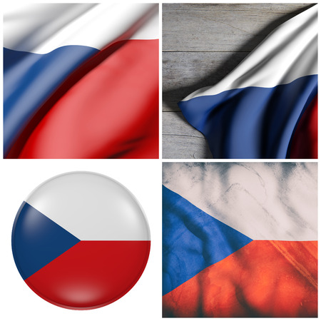 Composition of four 3d rendering Czech Republic flags