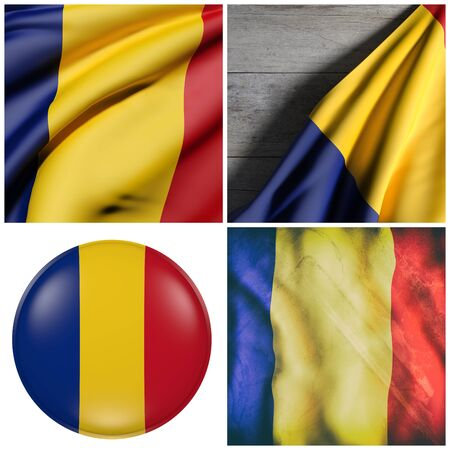3d rendering of a composition of four Romania flags