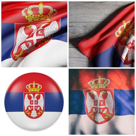 4 つのセルビアの旗のコンポジションの 3d レンダリング 写真素材
