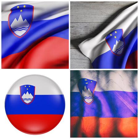 3d rendering of a composition of four Slovenia flags Stock Photo