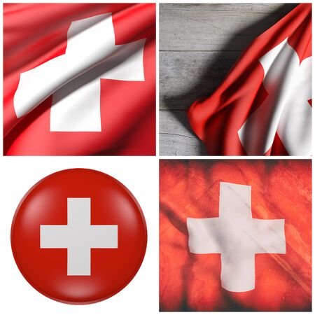 3d rendering of a composition of four Switzerland flags