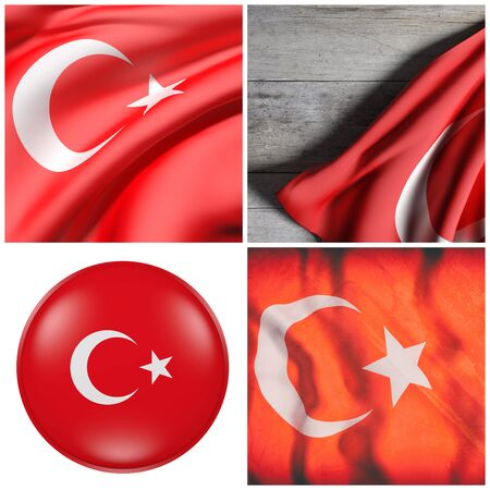 3d rendering of a composition of four Turkey flags Stock Photo