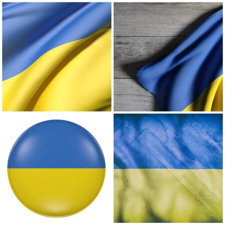 3d rendering of a composition of four Ukraine flags Фото со стока
