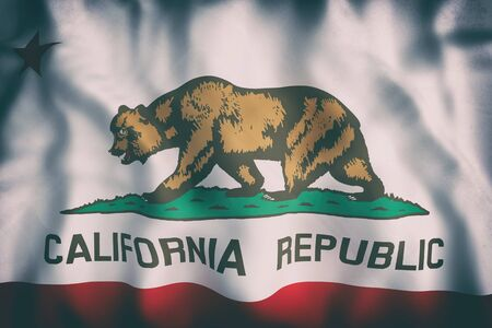 3d rendering of a California State flag.