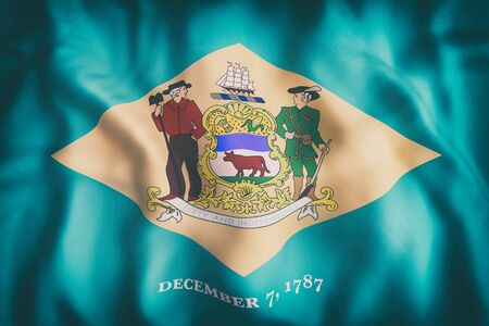 3d rendering of a Delaware State flag.