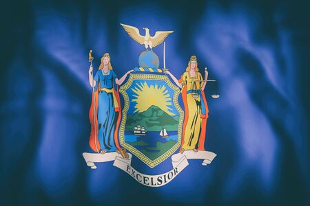 albany: 3d rendering of a New York State flag