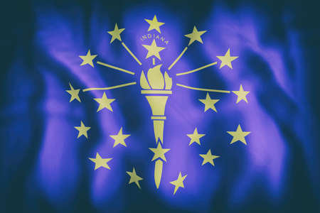 3d rendering of an Indiana State flag. Stock Photo - 85289133