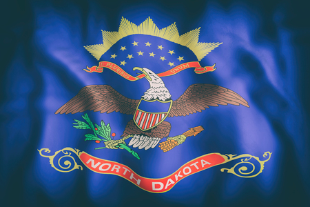 3d rendering of a North Dakota State flag.