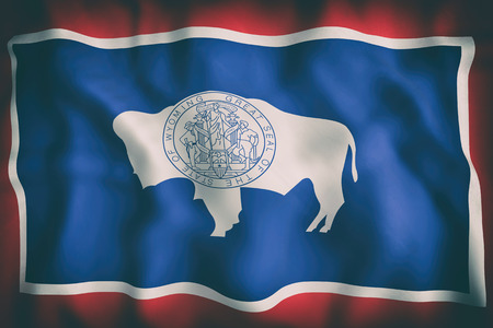 3d rendering of a Wyoming State flag Stock Photo