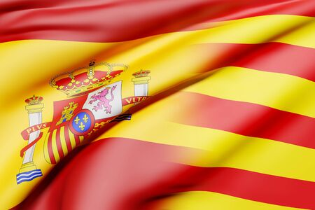 3d rendering of a mixed of a Spain and Catalonia flag.