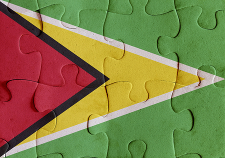 Illustration of a flag of Republic of Guyana over some puzzle pieces. Its a JPG image.