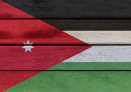 Illustration of Jordan flag over a wood surface