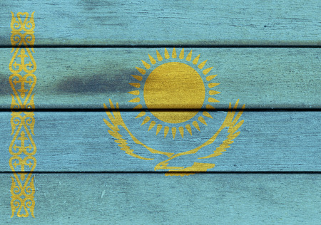 Illustration of Kazakhstan flag over a wood surface